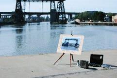 Arte en La Boca 1. Painting the Nicolas Avellaneda bridge built in 1908 - La Boca - Buenos Aires - Argentina Royalty Free Stock Photos