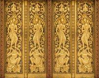 arte en puerta, artes y arquitectura de los templos del budismo Foto de archivo