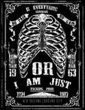 Arte esquelético del cartel del detalle del diseño gráfico de la camiseta libre illustration