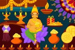Arte felice India del kitsch del fondo di festival di Diwali Fotografia Stock Libera da Diritti
