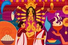 Arte feliz la India del kitsch del fondo del festival de Durga Puja Imagen de archivo
