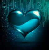 Arte finala abstrata da forma do coração de Digitas em um fundo da tecnologia ilustração stock