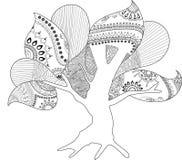 Arte finala colorindo da página da árvore oca ilustração royalty free