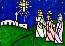 Arte finala da cena da natividade de três homens sábios Fotos de Stock Royalty Free