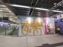 Arte finala da estação de MTR Sai Ying Pun - a extensão da linha da ilha ao distrito ocidental, Hong Kong Fotografia de Stock
