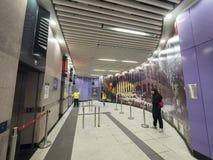 Arte finala da estação de MTR Sai Ying Pun - a extensão da linha da ilha ao distrito ocidental, Hong Kong Foto de Stock