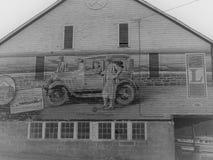 Arte finala em um lado de uma constru??o abandonada em Lincoln Highway imagens de stock royalty free