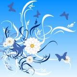 Arte floral 57 da cor da borboleta ilustração stock