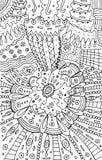 Arte floral da mandala da garatuja do sumário Linha tirada mão ilustração do boho dos desenhos animados Arte -final do vetor ilustração stock