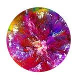 Arte fluida em um prato de petri Álcool colorido, tinta, bactérias coloridas de vida em um prato de petri Fotografia de Stock