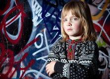 Arte fresco de la calle del niño de la pintada Foto de archivo libre de regalías