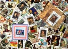 Arte Fundo dos selos postais Fotografia de Stock Royalty Free