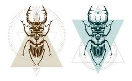 Arte geométrica do veado do besouro ilustração royalty free