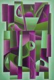 Arte geometrica di Digital verde chiaro e Bordeaux fotografia stock