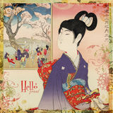 Arte giapponese della scheda o della parete della ragazza del geisha Fotografia Stock