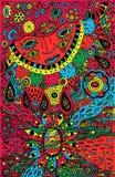Arte gr?fico con los ornamentos shamanic de la cara y del mineral Ilustraciones psicodélicas coloridas del garabato Ilustraci?n d stock de ilustración