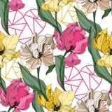 Arte grabado tulipán de la tinta del vector Flor botánica floral Modelo inconsútil del fondo Textura de la impresión del papel pi libre illustration