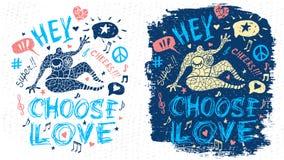 Arte grafica del tizio del carattere di tema di musica del partito di scarabocchio di stile di slogan fresco divertente dell'iscr illustrazione di stock