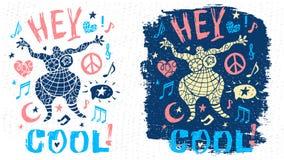 Arte grafica del tizio del carattere di tema di musica del partito di scarabocchio di stile di slogan fresco divertente dell'iscr illustrazione vettoriale