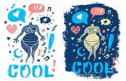 Arte grafica del tizio del carattere di tema di musica di scarabocchio di stile di slogan fresco divertente dell'iscrizione per i illustrazione vettoriale