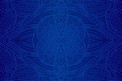 Arte hermoso con el modelo étnico azul inconsútil Imagen de archivo libre de regalías