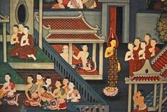 Arte histórico antiguo de Buddha en la pared Foto de archivo libre de regalías