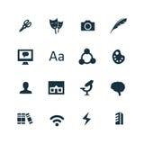 Arte, iconos del diseño fijados stock de ilustración