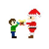 arte il Babbo Natale del pixel 8bit Fotografia Stock