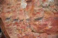 Arte indígena antiguo de la roca Fotografía de archivo