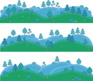 Arte isolata vettore per i giochi Colline con gli alberi e gli arbusti Immagine Stock Libera da Diritti