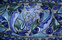 Arte luminosa di Aqua Blue Fishes Mediterranean Ceramic fotografia stock