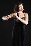 Arte Músico do flaustist do flautista da mulher que joga a flauta Imagem de Stock Royalty Free