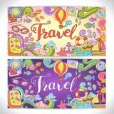 Arte a mano creativo del garabato con tema del viaje del verano Imágenes de archivo libres de regalías