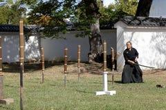 Arte marcial japonés con la espada del katana Imágenes de archivo libres de regalías