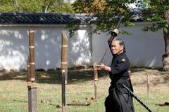 Arte marcial japonés con la espada del katana Fotografía de archivo