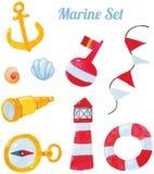 Arte marina del disegno della mano dell'acquerello illustrazione vettoriale