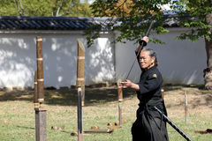 Arte marziale giapponese con la spada di katana Fotografia Stock