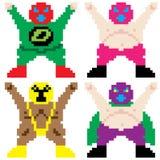 Arte mascherata del pixel del lottatore Immagine Stock