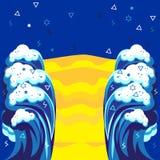 Arte moderna da onda do mar ilustração royalty free