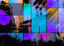 A arte moderna inspirou o sumário da cidade ilustração stock