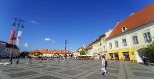 Arte moderno en Piata Mare en Sibiu Fotografía de archivo