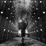 Arte monocromática do conceito do ambiente do pesadelo Foto de Stock Royalty Free