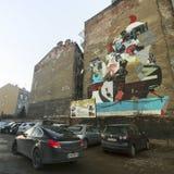 Arte mural de la calle del artista no identificado en Kazimierz cuarto judío Imagenes de archivo