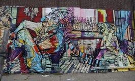 Arte mural en la sección roja del gancho de Brooklyn Fotografía de archivo libre de regalías