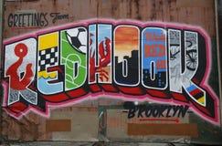 Arte mural en la sección roja del gancho de Brooklyn Fotos de archivo libres de regalías