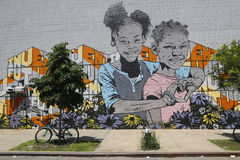 Arte mural en Williamsburg del este en Brooklyn Foto de archivo