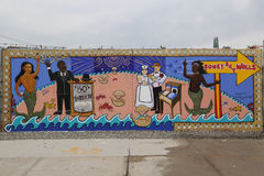 Arte mural na pele de coelho Art Walls da atração da arte da rua na seção de Coney Island em Brooklyn Fotos de Stock