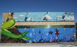 Arte mural na pele de coelho nova Art Walls da atração da arte da rua na seção de Coney Island em Brooklyn Imagem de Stock