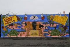 Arte mural na pele de coelho nova Art Walls da atração da arte da rua na seção de Coney Island em Brooklyn Fotos de Stock Royalty Free