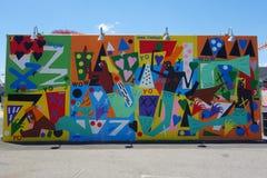Arte mural na pele de coelho nova Art Walls da atração da arte da rua na seção de Coney Island em Brooklyn Fotografia de Stock